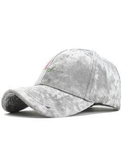 Rose Embroidery Embellished Suede Baseball Hat - Light Gray