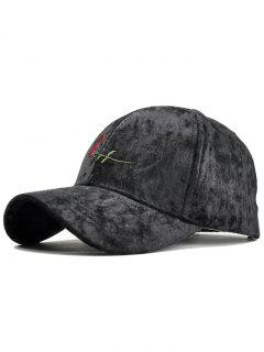 Rose Embroidery Embellished Suede Baseball Hat - Black