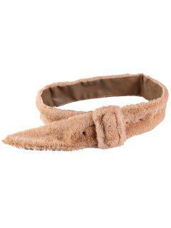 Rectangle Buckle Embellished Furry Wide Waist Belt - Khaki