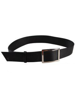 Metal Buckle Decorated Faux Leather Wide Waist Belt - Black