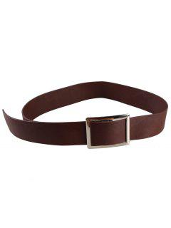 Metal Buckle Decorated Faux Leather Wide Waist Belt - Coffee