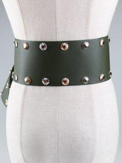 Metal Buckle Embellished Rivet Wide Corset Belt - Green