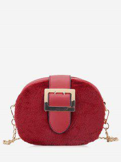Chain Splicing Buckle Strap Crossbody Bag - Red