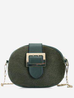 Chain Splicing Buckle Strap Crossbody Bag - Green
