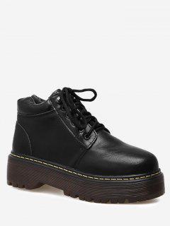 Faux Leather Tie Up Platform Ankle Boots - Black 40