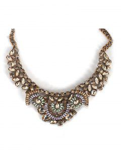 Faux Crystal Teardrop Statement Necklace - Copper Color
