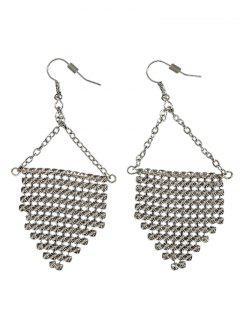 Triangle Disc Hook Earrings - Silver