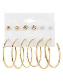 Faux Pearl Rhinestone Hoop Earring Set - Golden