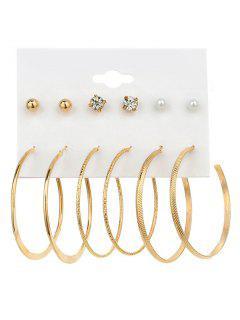 Conjunto De Aretes De Aro De Imitación De Perlas De Diamantes De Imitación - Dorado