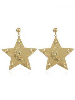 Engraved Star Moon Face Drop Earrings - Golden