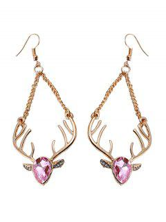 Christmas Faux Crystal Reindeer Chain Earrings - Pink