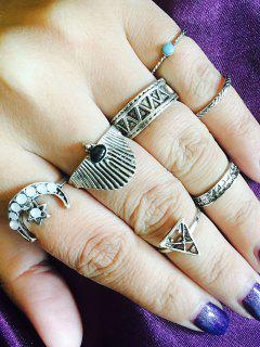 Tribal Star Moon Geometric Finger Ring Set - Silver