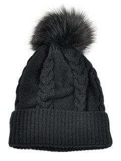 Striped Pattern Decorated Knitted Pom Beanie - Black