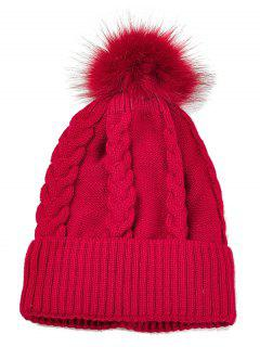 Striped Pattern Decorated Knitted Pom Beanie - Red