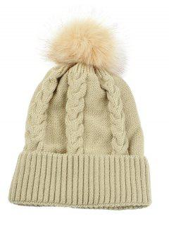 Striped Pattern Decorated Knitted Pom Beanie - Beige