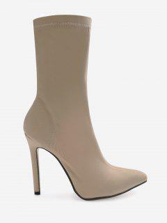 Point Toe Stiletto Heel Stretch Sock Boots - Apricot 37