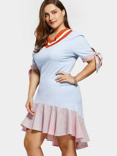 High Low Striped Plus Size Ruffles Dress - Light Blue Xl