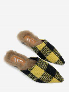 Fuzzy Footbed Color Block Checkered Mules Shoes - Yellow 35