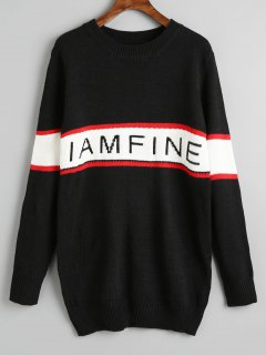 Contrasting Pullover Letter Grapgic Sweater - Black