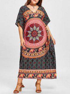 Plus Size Ethnic Elephant Mandala Poncho Dress - Black