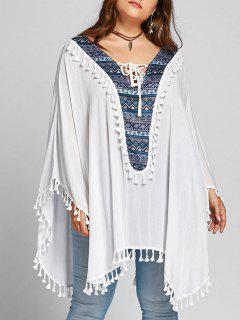 Plus Size Lace Up Tassel Batwing Sleeve Blouse - White