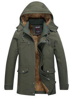 Detachable Hooded Pockets Fleece Zip Up Coat - Army Green Xl