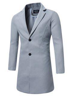 Single Breasted Longline Wool Blend Coat - Light Gray 2xl