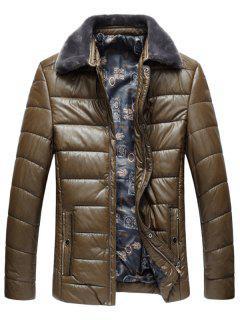 Faux Fur Collar PU Leather Padded Zip Up Coat - Khaki 3xl