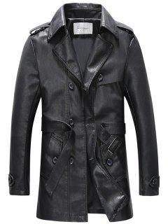 Double Breasted Belt PU Leather Trench Coat - Black 2xl