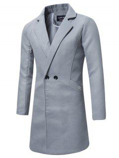 Turndown Collar Double Breasted Longline Peacoat - Light Gray 5xl