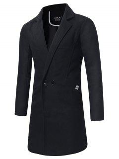 Turndown Collar Double Breasted Longline Peacoat - Black Xl