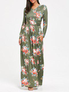 High Waist Long Sleeve Floral Print Maxi Dress - Pea Green Xl