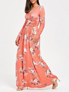 High Waist Long Sleeve Floral Print Maxi Dress - Orangepink S