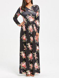 High Waist Long Sleeve Floral Print Maxi Dress - Black M