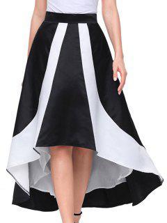 Color Block Maix High Low Skirt - Black L