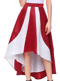 Color Block Maix High Low Skirt - Red M