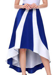 Color Block Maix High Low Skirt - Blue S