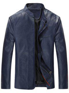 Full Zip Grandad Collar Faux Leather Jacket - Blue 2xl