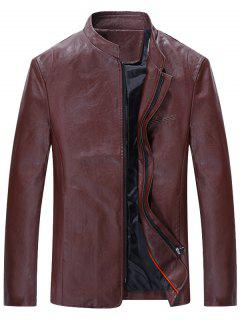 Full Zip Grandad Collar Faux Leather Jacket - Wine Red 3xl