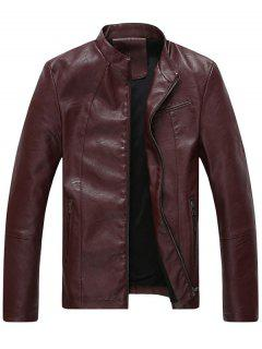 Full Zip Stand Collar Faux Leather Jacket - Wine Red 2xl