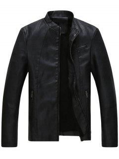 Full Zip Stand Collar Faux Leather Jacket - Black 2xl