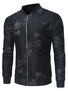 Stand Collar Golden Embroidered Zip Up Jacket - Black 5xl