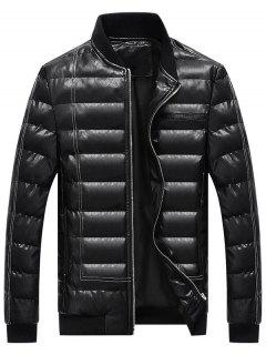Zip Up Faux Leather Padded Bomber Jacket - Black L