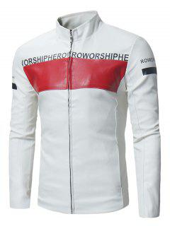 Graphic Color Block PU Leather Zip Up Jacket - White 2xl