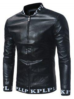Graphic Ribbed Zip Up PU Lame Chaqueta De Cuero - Negro 2xl