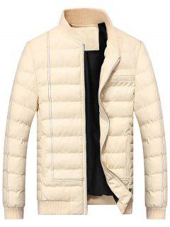 Zip Up Faux Leather Padded Bomber Jacket - Off-white L