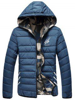 Reversible Style Graphic Camouflage Padded Jacket - Deep Blue 3xl