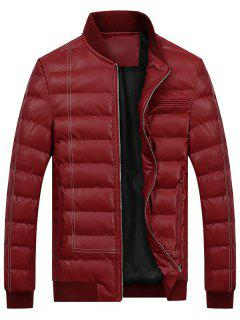 Zip Up Faux Leather Padded Bomber Jacket - Wine Red 2xl