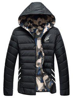 Reversible Style Graphic Camouflage Padded Jacket - Black 3xl
