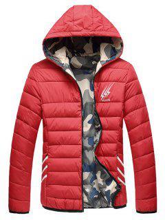 Wendbare Style Graphic Camouflage Gefütterte Jacke - Rot 2xl